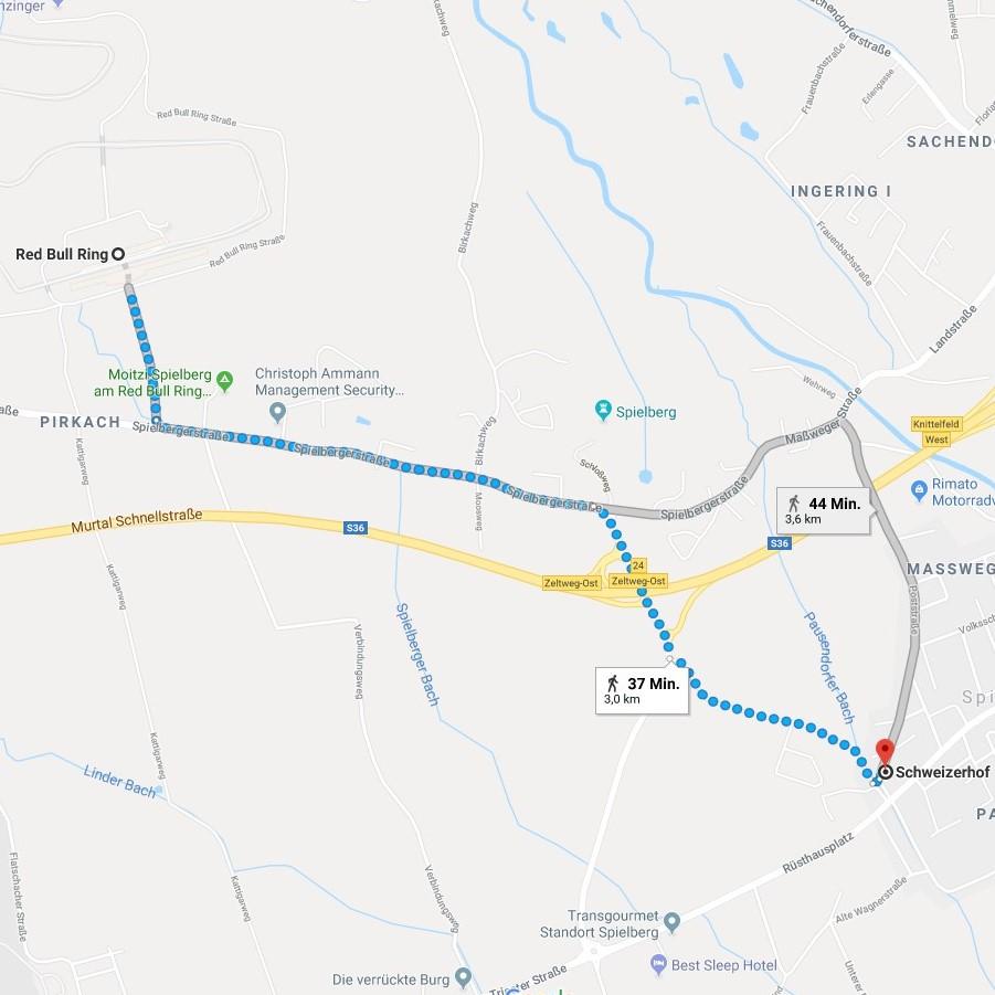 Fußweg zum RedBullRing Schweizerhof Spielberg